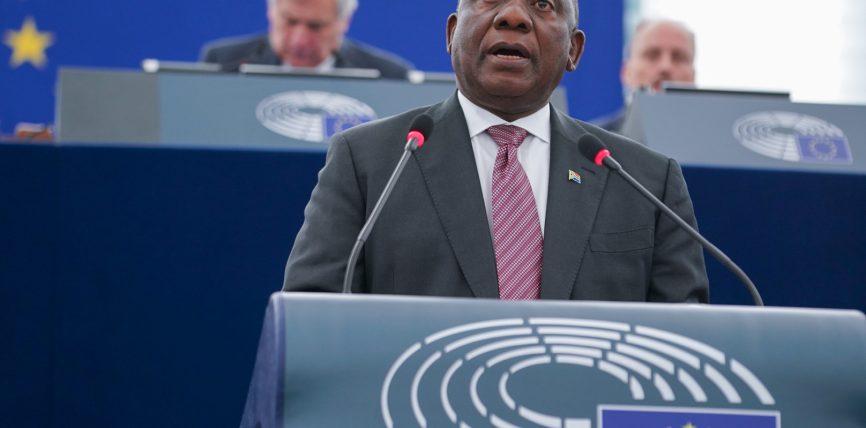 Președintele Africii de Sud, Cyril Ramaphosa, s-a adresat plenului Parlamentului European