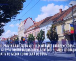 Raportul privind calitatea vieţii în oraşele europene: 95% dintre clujeni si 82% dintre bucureşteni sunt mulţumiţi de oraşul lor, comparativ cu media europeană de 89%