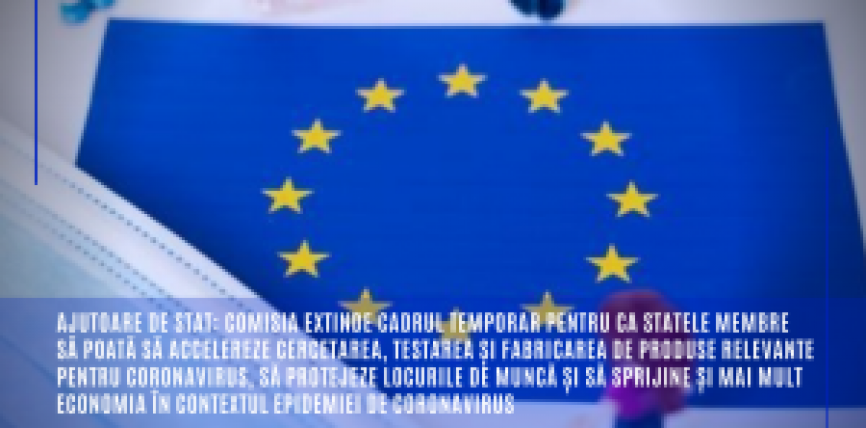 Ajutoare de stat: Comisia extinde cadrul temporar pentru ca statele membre să poată să accelereze cercetarea, testarea și fabricarea de produse relevante pentru coronavirus, să protejeze locurile de muncă și să sprijine și mai mult economia