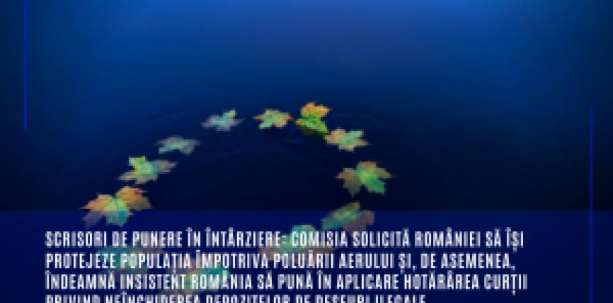 Scrisori de punere în întârziere: Comisia solicită României să își protejeze populația împotriva poluării aerului și, de asemenea, îndeamnă insistent România să pună în aplicare hotărârea Curții privind neînchiderea depozitelor de deșeuri ilegale