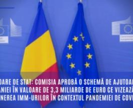 Ajutoare de stat: Comisia aprobă o schemă de ajutoare a României în valoare de 3,3 miliarde de euro ce vizează susținerea IMM-urilor în contextul pandemiei de COVID-19