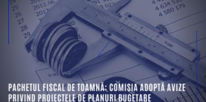 Pachetul fiscal de toamnă: Recomandare pentru România de a corecta, în 2020, abaterea semnificativă pentru atingerea obiectivului bugetar pe termen mediu